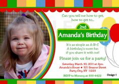 Custom Personalized Sesame Street Inspired With or Without Photo Birthday Party Invitation - Digital Print. $9.99, via Etsy.