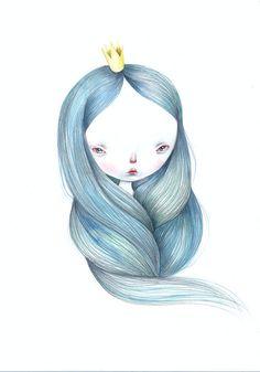 Blue Hair, illustration.    Dilka Bear