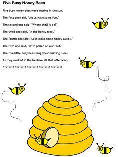 template Preschool Songs, Preschool Learning, Teaching, Toddler Learning, Bee Poem, Nursery Songs, Nursery Rhymes, Nursery Poem, Circle Time Songs