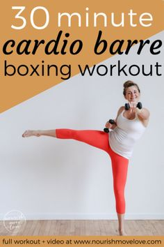 Cardio Barre Boxing Workout – full body workout under 30 minutes. Pair traditi… Cardio Barre Boxing Workout – full body workout under 30 minutes. Pair traditional barre/ballet movements and boxing cardio intervals with core movements. Upper body and lower Cardio Training, Strength Training, Easy Workouts, At Home Workouts, Barre Workouts, Workout Bodyweight, Workout Fitness, Kickboxing Workout, Fitness Diet