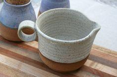 handmade pitcher stoneware jug batter bowl by earthformsbymarie