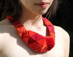 Chi Ching Lai Necklace: Triangular Necklace (Orange), 2013 Perspex, Textile, Yarns, Magnet and Strings W12 X H20 X D5 cm
