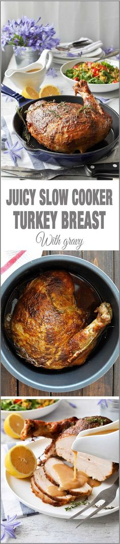 Juicy Slow Cooker Turkey - the no fail EASY way to make turkey breast that comes out juicy with a fabulous gravy!