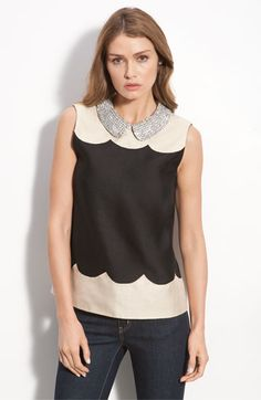 kate spade new york 'francoise' rhinestone collar sleeveless top