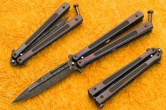 Balisong - Custom Damascus Dagger-carbon fiber inlay By Darrel Ralph