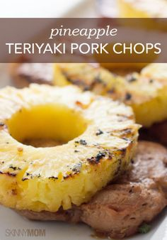 Skinny Pineapple Teriyaki Pork Chops ~These are the best pork chops you will ever have! You definitely need to try this skinny pineapple teriyaki pork chops recipe. Teriyaki Pork Chops, Teriyaki Marinade, Bbq Pork, Teriyaki Chicken, Pineapple Pork Chops, Pineapple Chicken, Pineapple Slices, Pork Recipes, Cooking Recipes