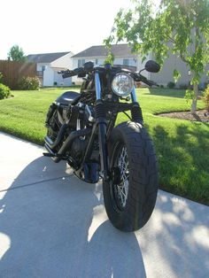 """2007 Harley XL1200N 14 degree with 2"""" over stock Fork Tubes & 200 Wide Tire Kit"""