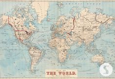 Map of the World Wallpaper by Swag Paper - it's not cheap to cover an entire wall, but they have a lot of different sizes.