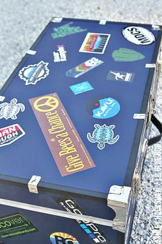 Decorating and personalizing a summer camp trunk - summer camp trunk stickers