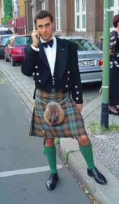 Kilt - This looks like the Kelly tartan. Pretty rare and hard to find. Scottish Man, Scottish Kilts, Scottish Dress, Scottish Highlands, Sharp Dressed Man, Well Dressed Men, Scotland Kilt, Glasgow Scotland, Men In Kilts