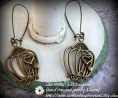Cute Heart Bird Cage Earrings by MotherDaughterJewel on Etsy, $6.00