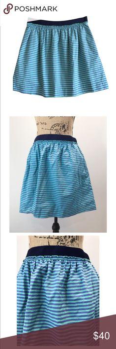"""JCrew Blue Striped Skater Skirt JCrew Size 12 Blue striped Skater Skirt 2 front hip pockets  Elastic waist. Lined W: 17""""-22"""", H: 24"""", L: 18"""" J. Crew Skirts Circle & Skater"""