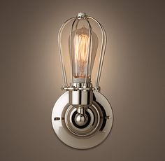 """Marconi Small Cage Single Sconce - Polished Nickel--another good option for the bedrooms-- 4.5"""" deep"""