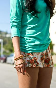 floral shorts & turquoise.