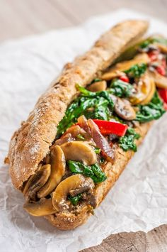 """Mushroom Philly Cheese""""Steak"""" This Portobello Mushroom Philly Cheesesteak is a perfect way to take a meaty dish and turn it into a delicious and healthy vegetarian version. Clean Eating Vegetarian, Vegetarian Recipes Easy, Clean Eating Snacks, Veggie Recipes, Whole Food Recipes, Healthy Eating, Cooking Recipes, Healthy Recipes, Veggie Meals"""