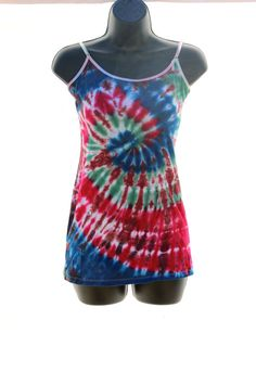 Tie Dye Large Juniors Tank Top by CraftyCosmicCreation on Etsy