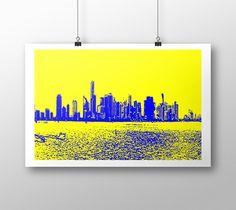 "Art print ""Miami yellow blue"" by eliso ignacio silva simancas"