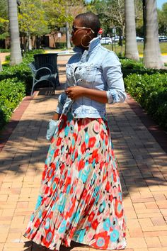 Faded Denim mixed with softly pleated long skirt.  Nice!
