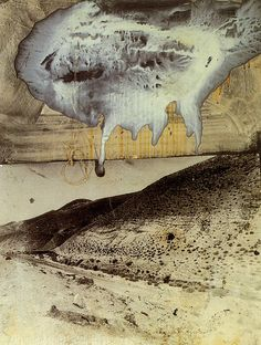 Kiefer.Departure from Egypt  Painting by Anselm Kiefer: 1984. Acrylic, emulsion and shellac on photograph on board with string.  Approx. 42 x 33 inches