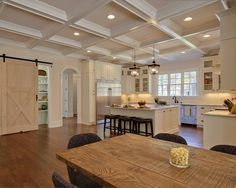 Kitchen Design, Pictures, Remodel, Decor and Ideas - like ceiling.  Really like pantry barn style door. #dreamhome.  Let me help you find yours.  Johnny Sparrow, Keller Williams