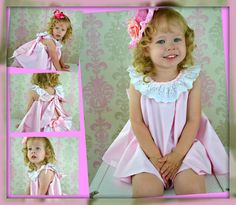 Flower girl Dress Twirl dress & Ruffled Bloomers Ballet Pink and white 2 piece Newborn thru18 mo. $50.00, via Etsy.