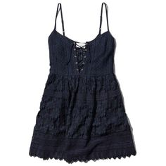 Abercrombie & Fitch Lace Up Skater Dress ($29) ❤ liked on Polyvore featuring dresses, navy, blue skater dress, skater dress, navy lace dress, strap dress and strappy dress