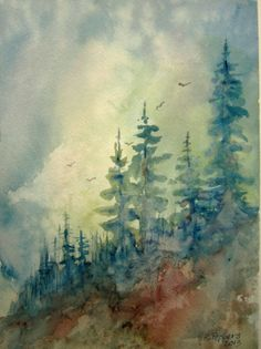 Ridge Line Print of  Original Watercolor Landscape by RPeppers, $25.00