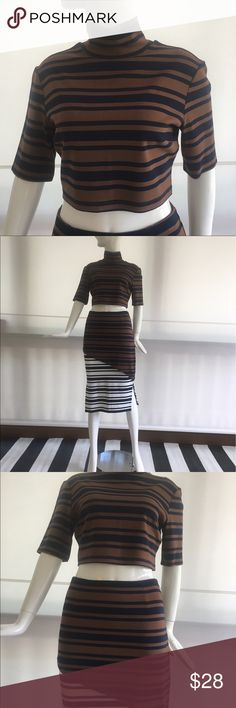 Finders Keepers Just My Luck Top Striped crop top with mid turtle neck. Great paired with the matching skirt for a print on print look! Never been worn. Amazing quality. Finders Keepers Tops Crop Tops