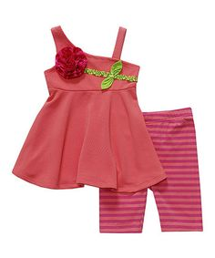 Coral Rosette Tunic & Stripe Leggings - Infant, Toddler & Girls