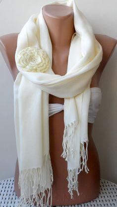 Ivory pashmina shawl Bridesmaid pashmina shawls by elegancescarf, $21.00