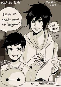 Big bro Hiro and Little bro Tadashi by Hourglass34.deviantart.com on @DeviantArt. this is so interesting and so cute and ahgfsjhfkdjshwzfjk