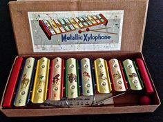Vintage Toy Xylophone Tin Litho Original Box by VintagePrairieHome