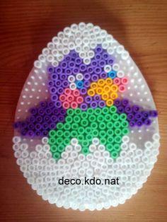DECO.KDO.NAT: Perles hama: oeuf pâques poussin violet