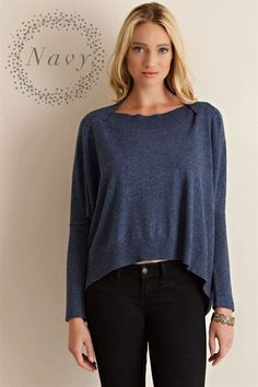 Loose fit navy top, find it and more in our Boutique group