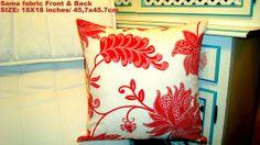 Tropical red pillow  Hawaiian modern vintage 18x18 by SABDECO, €26.00