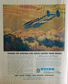 The New York Air Brake Company  original print ad  40 s Color Illustration  finger tip control