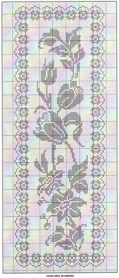 Floral filet crochet table runner chart