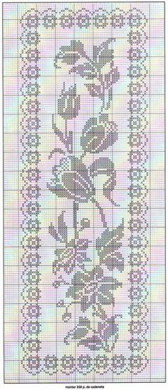 Floral filet crochet table runner chart
