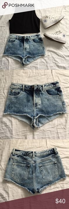 Topshop blue acid wash high waisted cheeky shorts Blue acid washed high waisted jean shorts from topshop. Cheeky style. Worn once. Topshop Shorts Jean Shorts