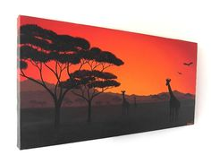 Landscape painting by Kim Onyskiw - the African plains at sunset.