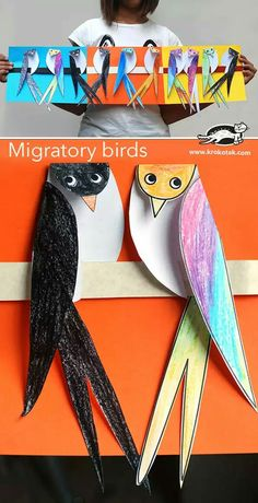 Migratory birds - Made of paper The Effective Pictures We Offer You About summer crafts A quality picture can tell y - Kids Crafts, Projects For Kids, Art Projects, Arte Elemental, Migratory Birds, Paper Birds, Bird Paper Craft, Art N Craft, Animal Crafts