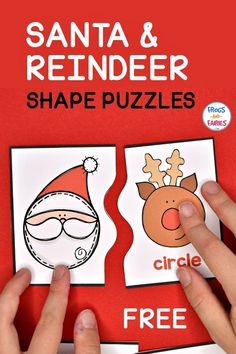 These FREE Christmas Shape Puzzles are featuring fun shaped Santa and reindeer! Each puzzle has a different line that connects the two pieces together, making the puzzles self-correcting. Preschool Christmas Activities, Free Preschool, Kindergarten Activities, Preschool Centers, Worksheets, Christmas Math, Shape Puzzles, Theme Noel, Santa And Reindeer