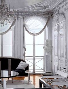 {nouveaux intérieurs parisiens} :: This Is Glamorous Interior Design Inspiration, Home Decor Inspiration, Living Room Decor, Living Spaces, Bright Rooms, Dark Furniture, Furniture Design, Pretty Room, Curtain Designs