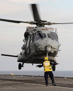 French NH90 Caiman Helicopter Landing Onboard HMS Illustrious by Defence Images