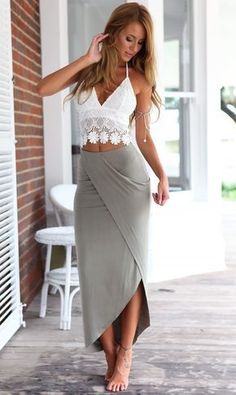 White Lace Cami Top + Gray Asymmetric Pencil Skirt Twinset (Perfect skirt would use a long sleeve shirt maybe a tad looser) Mode Outfits, Sexy Outfits, Fashion Outfits, Womens Fashion, Fashion Clothes, Preppy Outfits, White Outfits, Grunge Outfits, Fashion Weeks