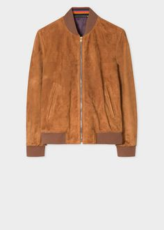 9a4ac49b Paul Smith Men's Tan Suede Bomber Jacket With 'Artist Stripe' Cuff Linings