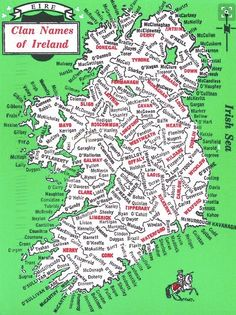 Map of Clan Names of Ireland. Celebrate Irish nationalism and Irish culture with sterling silver Irish and Celtic jewelry. Our clan names were Tobin & Bowe Genealogy Sites, Family Genealogy, Genealogy Chart, Immigration Quebec, Ireland Map, Irish Culture, Irish Roots, Thinking Day, Plans