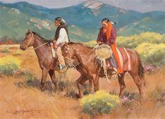"Gary Niblett ~ ""Autumn Riders"" Medium: Gouache kp"