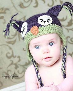 Ready to Ship: 3-6 Month Size - Sleepy Owl Crocheted Hat - Dark Purple. $22.50, via Etsy.