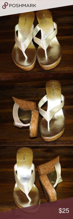 Charlotte Russe slip on sandals Charlotte Russe  silver slip on sandals , great condition, some wear but not much. Charlotte Russe Shoes Wedges